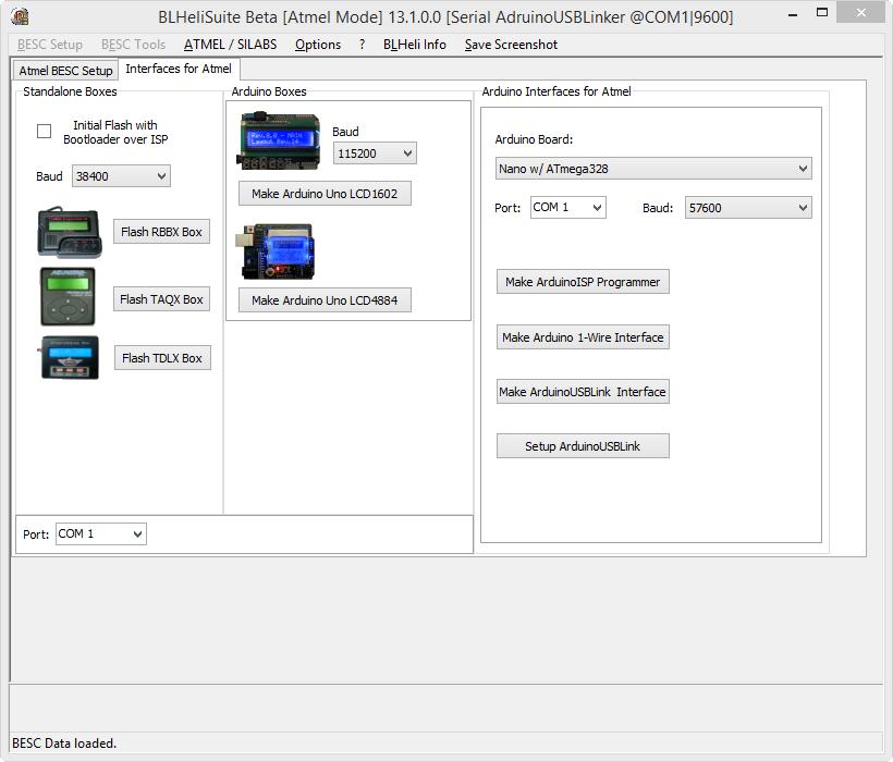 Blheli usb linker interface with arduino
