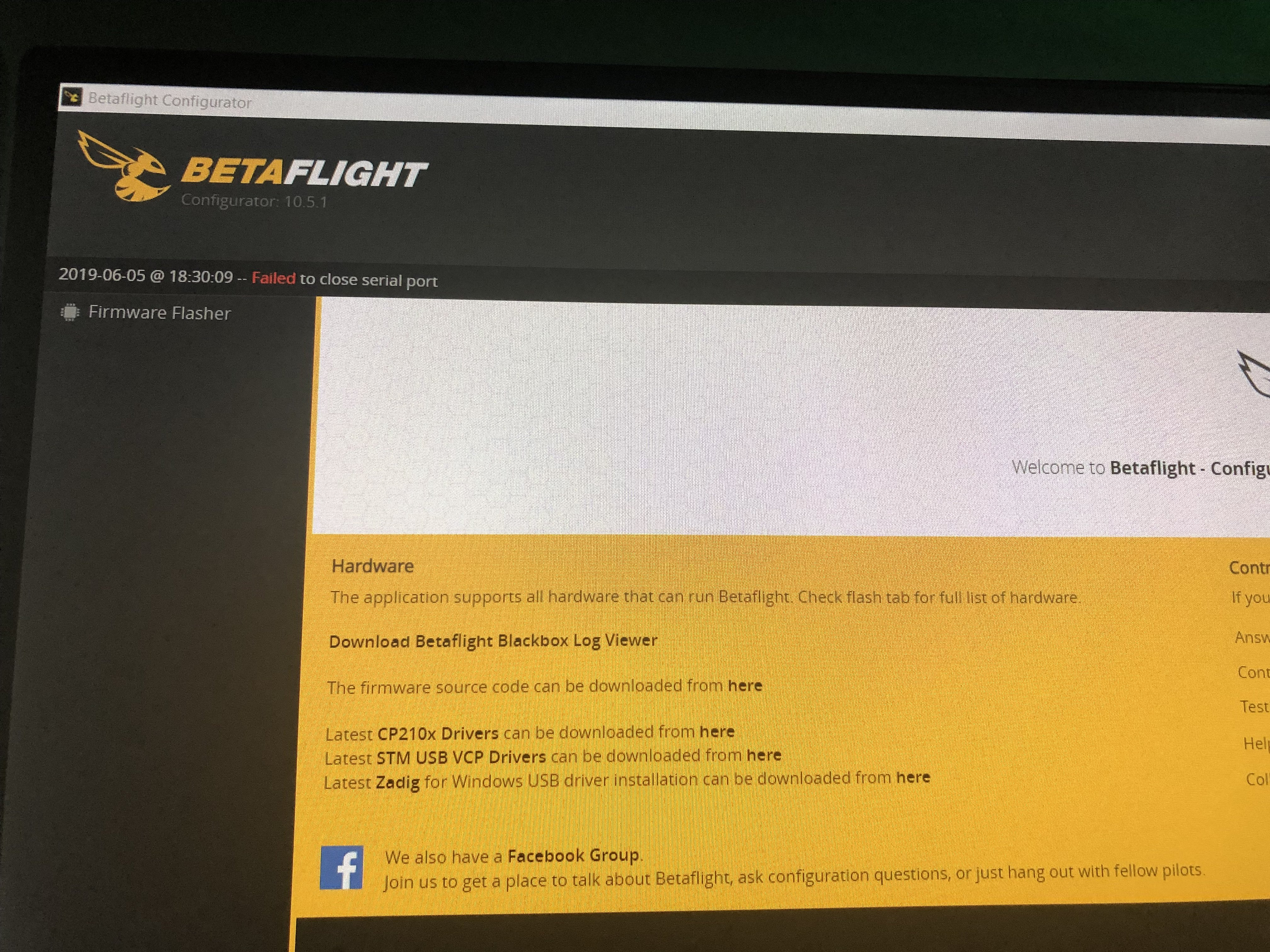 betaFlight configurator serial port problems for FT Gremlin